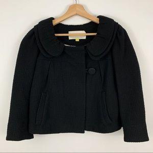 Leifsdottir Cropped Wool Coat 6 Black Cape Jacket